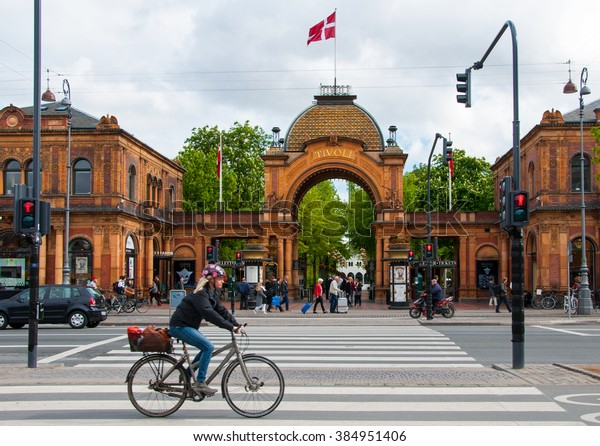 Copenhagen, Denmark, 7 May 2014. Traffic in front of  main gate to Tivoli Park