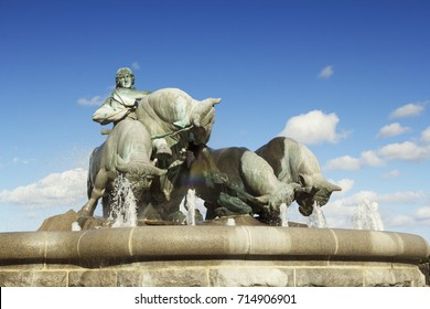 Copenhagen, Denmark - 9 September, 2017: The Gefion fountain is the largest fountain in Copenhagen. The fountain attracts a lot of tourists daily.