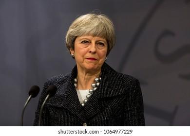 Copenhagen, Denmark - April 09, 2018: British Prime Minister Theresa May visits Danish Prime Minister Lars Loekke Rasmussen in Copenhagen, Denmark.