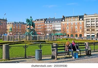 COPENHAGEN, DENMARK - APRIL 13, 2010: Equestrian statue of Christian V on Kongens Nytorv Square (The King's New Square)