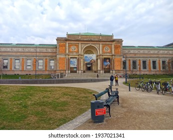 Copenhagen, Denmark - April 15, 2018: Panorama of Statens Museum for Kunst is the Danish national gallery, located in the centre of Copenhagen.
