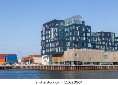 Copenhagen, Denmark - April 18, 2018: Exterior view of Copenhagen International School in Nordhavn district