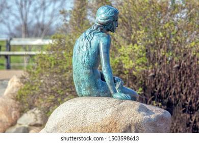 Copenhagen / Denmark - april 2019 : sculpture of The Little Mermaid in Copenhagen
