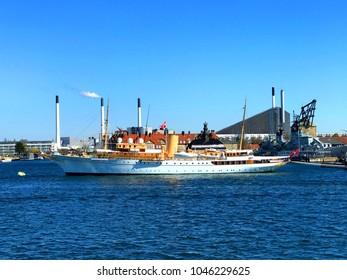 Copenhagen, Denmark - April 30 2017  Her Danish Majesty's Yacht Dannebrog docked in Copenhagen.