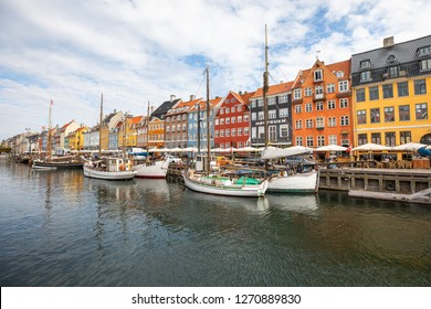 Copenhagen, Denmark - Aug 11, 2018. Colorful canal of Nyhavn on a summer day.
