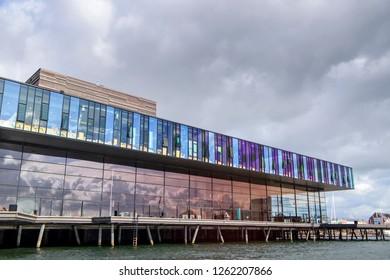 COPENHAGEN DENMARK - AUGUST 10 2018:  Royal Danish Playhouse next to Nyhavn in Copenhagen Denmark