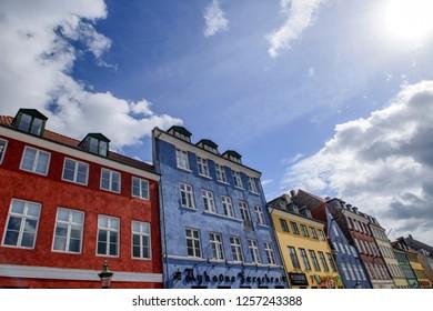 COPENHAGEN, DENMARK - August 10, 2018:Colorful old houses at the old port Nyhavn in Copenhagen