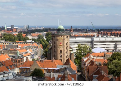 Copenhagen, Denmark - August 15, 2016: Aerial view of the Round Tower in the city center