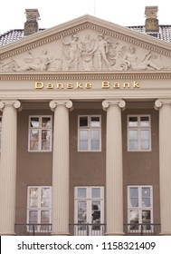 Copenhagen, Denmark - August 17, 2018: Danske bank logo on wall of headquaters. Danske bank is the largest bank in Denmark and a major retail bank in the northern European region
