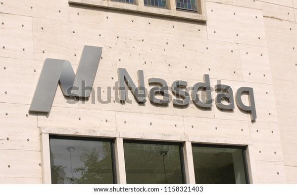 Copenhagen, Denmark - August 17, 2018: Nasdaq logotype on stock exchange building
