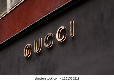 Copenhagen, Denmark - August 17: The sign of Gucci at Gucci on store. Gucci is an Italian fashion and leather goods brand.
