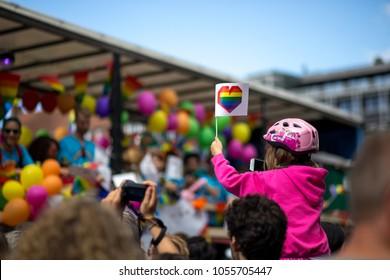 Copenhagen, Denmark - August 19, 2017: Participants at the annual Copenhagen Pride Parade through the city