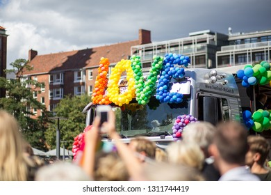 Copenhagen, Denmark - August 19, 2017: People at the annual Copenhagen Pride Parade. Copenhagen Pride is Denmark's largest annual Human Rights festival, focused on LGBT issues.