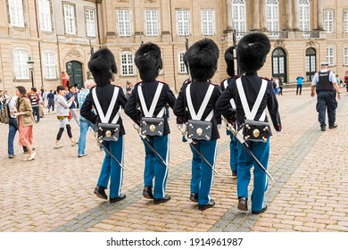 Copenhagen, Denmark August 20, 2016: Changing of the guard at Amalienborg Palace Square.