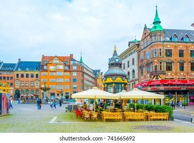 COPENHAGEN, DENMARK, AUGUST 20, 2016: View of the Nytorv square in the central Copenhagen, Denmark.