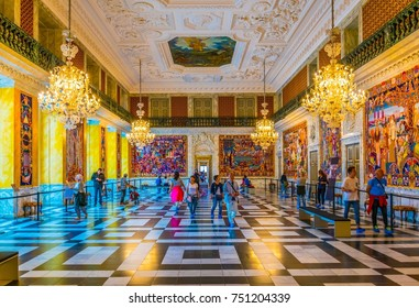 COPENHAGEN, DENMARK, AUGUST 20, 2016: View of the interior of the Christiansborg Slot Palace in Copenhagen, Denmark