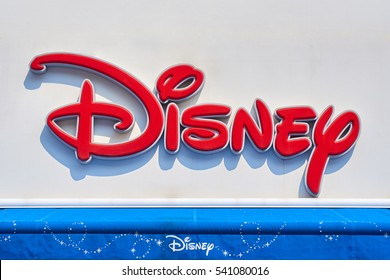 Copenhagen, Denmark - August 2016: Sign of Disney store in downtown
