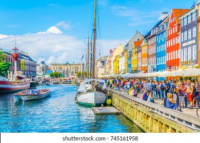 COPENHAGEN, DENMARK, AUGUST 21, 2016: View of old Nyhavn port  in the central Copenhagen, Denmark.