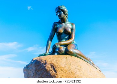 COPENHAGEN, DENMARK, AUGUST 21, 2016: little mermaid statue in Copenhagen, Denmark.