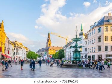 COPENHAGEN, DENMARK, AUGUST 21, 2016: View of a square in the central Copenhagen, Denmark.