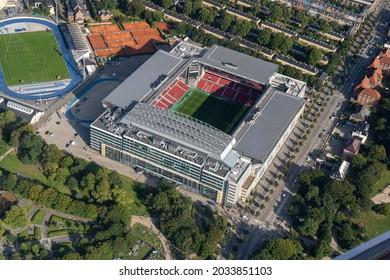 Copenhagen, Denmark - August 21, 2021: Aerial view of the National Stadium Parken