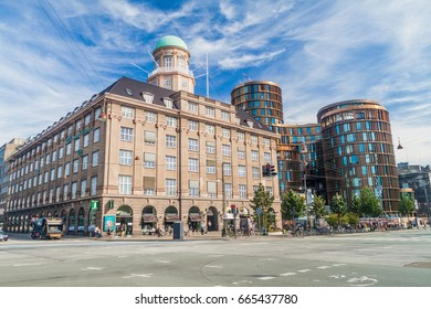 COPENHAGEN, DENMARK - AUGUST 26, 2016: Buildings on Vesterbrogade street in Copenhagen, Denmark. Including Axel Towers.