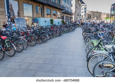 COPENHAGEN, DENMARK - AUGUST 26, 2016: Rows of bicycles in a center of Copenhagen, Denmark