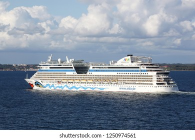 Copenhagen, Denmark - August 26, 2018: Aida Luna cruise ship travelling from Copenhagen to Oslo in Norway