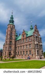 COPENHAGEN, DENMARK - AUGUST 28, 2016: People visit Rosenborg castle in Copenhagen, Denmark