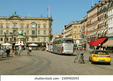 """COPENHAGEN, DENMARK - AUGUST 28, 2019: Kongens Nytorv (""""The King's New Square"""") is a public square in Copenhagen, Denmark, centrally located. The largest square of the city."""