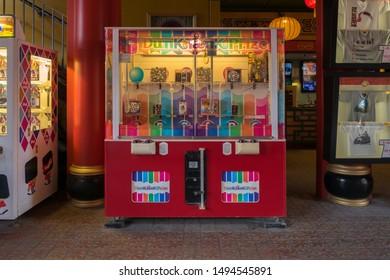 Copenhagen Denmark August 28th 2019 - Vending Machine Dunk Tank Prize at Tivoli Gardens in the summer morning
