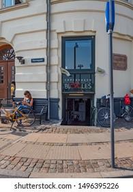 Copenhagen Denmark August 28th 2019 - Copenhagen Bicycles Shop Facade in Nyhavn in a sunny summer afternoon