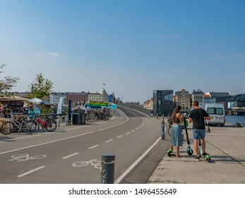Copenhagen Denmark August 28th 2019 - Inderhavnsbroen Bridge and Building background blur in a sunny summer afternoon with blue sky