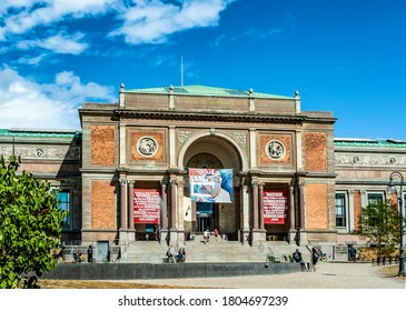 Copenhagen, Denmark - August 4, 2018: The façade of the National Gallery of Denmark (Statens Museum for Kunst), exhibiting a collection of paintings and sculptures dating from the 14th century.