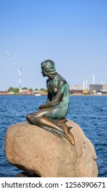 Copenhagen, Denmark – August 9, 2018: Little Mermaid statue in Copenhagen Denmark