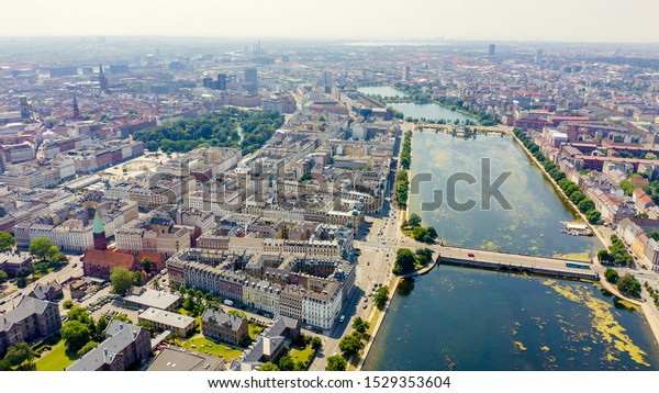 Copenhagen, Denmark. Central historical part of the city, city roofs and Copenhagen lakes. Aerial view, Aerial View