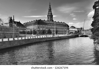 Copenhagen, Denmark. Christiansborg - the royal palace in black and white