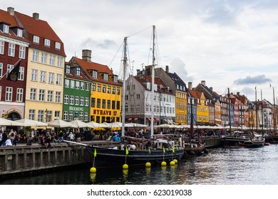 COPENHAGEN, DENMARK - CIRCA 2016 - Nyhavn is a 17th-century waterfront, canal and entertainment district in Copenhagen, this is one of the city's main attractions.