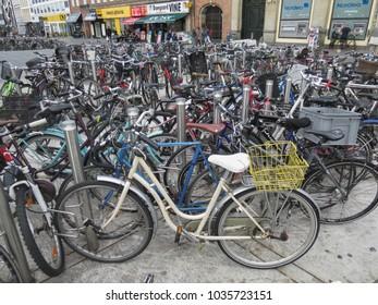 COPENHAGEN, DENMARK - CIRCA AUGUST 2017: bicycles aka bikes or cycles