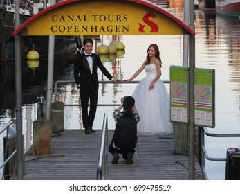 COPENHAGEN, DENMARK - CIRCA AUGUST 2017: Asian couple getting married in Copenhagen