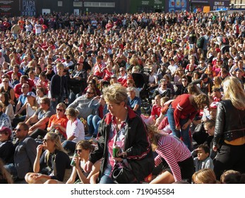 COPENHAGEN, DENMARK - CIRCA AUGUST 2017: massive crowd gathers to watch Women's Euro 2017 Final between the Netherlands and Denmark projected on screen on the main square