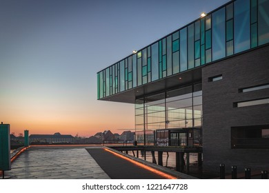 COPENHAGEN, DENMARK - CIRCA NOVEMBER 2018 - Royal Danish Playhouse, the building is a design of Lundgaard & Tranberg and have the 2008 RIBA European Award for its architecture.