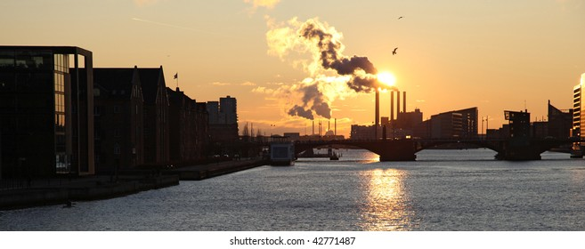 COPENHAGEN, Denmark - DEC 12, 2009. Factory against sky