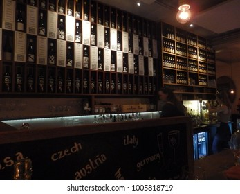 COPENHAGEN, DENMARK -  DECEMBER 17, 2016: Wine counter in  restaurant Meatpacking District, Copehnagen, Denmark.
