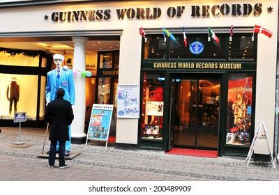 COPENHAGEN, DENMARK - DECEMBER 19, 2011: Tourists visit the Guinness World of Records Museum in the Danish capital city