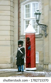 COPENHAGEN, DENMARK - DECEMBER 2, 2012: The royal guard in winter uniform. Amalienborg Palace.