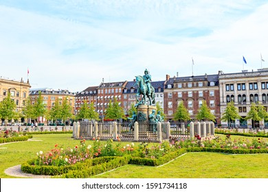 Copenhagen, Denmark. Equestrian statue, King Christian V - The first statue was installed on the square in 1688. In 1946, the lead statue was replaced with an exact bronze copy