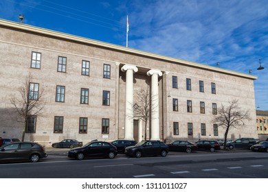 Copenhagen, Denmark - February 12, 2019: Front view of the Freemasons' Hall, the headquarters of the Danish Order of Freemasons