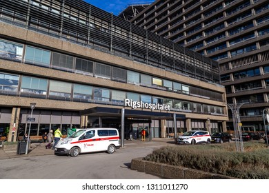 Copenhagen, Denmark - February 12, 2019: Main entrance to Rigshospitalet. Rigshospitalet is the largest hospitals in Denmark and the most highly specialised hospital in Copenhagen.