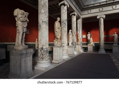Copenhagen, Denmark - February 16, 2016: Roman and Greek Sculptures in the New Carlsberg Glyptotek.